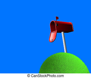 mailbox on sphere of grass