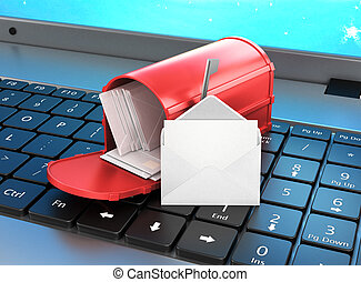 mailbox on the keyboard, open letter on the keyboard. 3d illustration