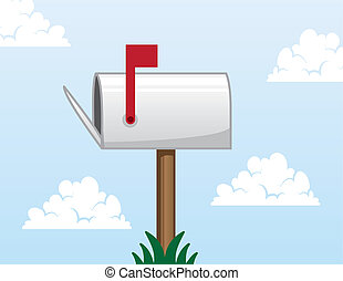 Open mailbox with flag up
