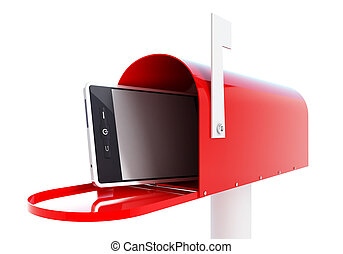 mailbox phone 3d Illustrations on a white background