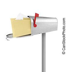Mailbox full with envelopes, white background