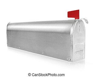 Mailbox - Metallic mailbox on white background