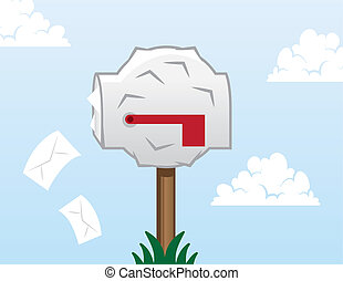 Mailbox Stuffed - Mailbox bulging and stuffed with letters