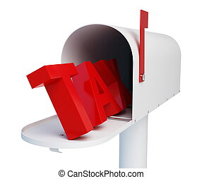 mailbox tax with mail on a white background