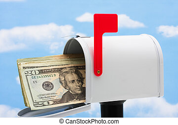 Mailbox - White mailbox filled with twenty dollar bills and...