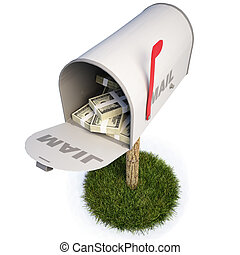 mailbox with a raised flag. with clipping path.