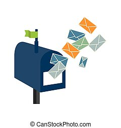 mailbox with envelope letter isolated icon