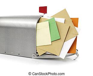 Mailbox with envelopes - Mailbox full with envelopes, white...