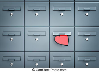 Mailbox with heart - love letter. 3d illustration