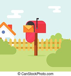 Mailbox with letter envelope and house landscape vector ...