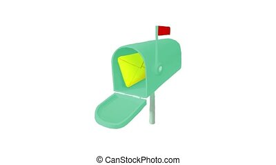 Mailbox with letter animation of cartoon icon on white background