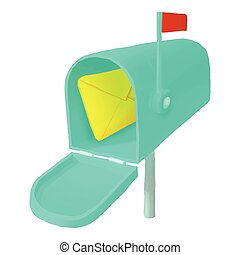 Mailbox with letter icon, cartoon style