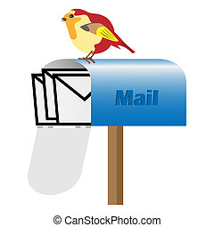 Mailbox with letters and bird