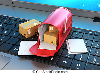 Mailbox with letters and cardboard boxes are on the laptop keyboard. 3d illustration