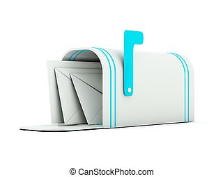 Mailbox with letters. Blue and grey series