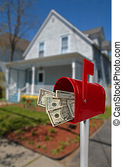Mailbox with money - A standard red mailbox american money...