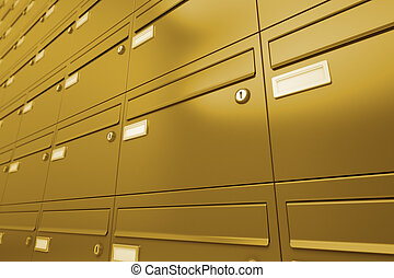 Mailboxes. - Side view on a wall of yellow metallic ...