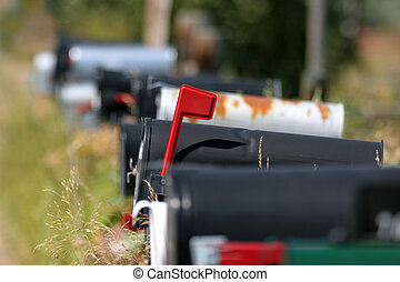 mailboxes - you have mail - mailboxes lined up, flagged box...