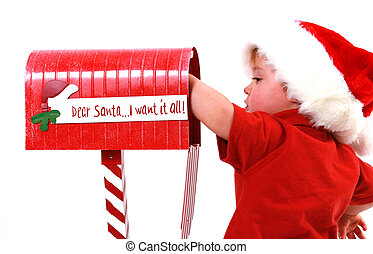mailing a letter - A kid mailing  a letter to santa.