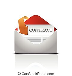 mailing contract icon isolated over white