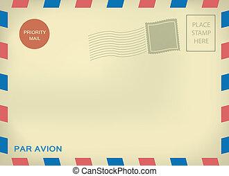 Mailing enveloper par avion template with blank stamps on aged textured paper