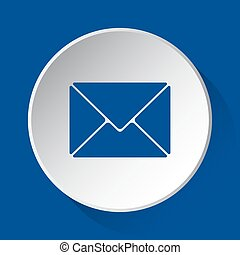 mailing envelope, simple blue icon on white button