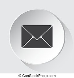 mailing envelope, simple gray icon on white button