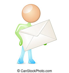 humanoid holding a mail in envelope