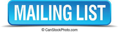 mailing list blue 3d realistic square isolated button