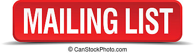 mailing list red 3d square button isolated on white