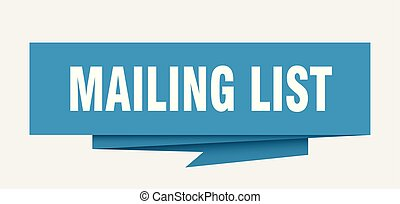 mailing list sign. mailing list paper origami speech bubble....