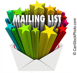 An open envelope with the words Mailing List to illustrate a file of customers, readers, subscribers or recipients for your marketing message or communication