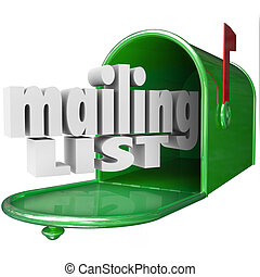 Mailing List words in 3d letters and a mailbox for direct marketing or advertising your company or business, products or services