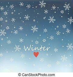 maille, ciel, fond, chute neige, nuit