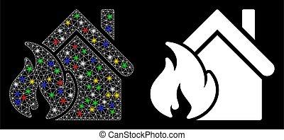 maille, fil, realty, cadre, flamme, brûler, taches, icône, désastre