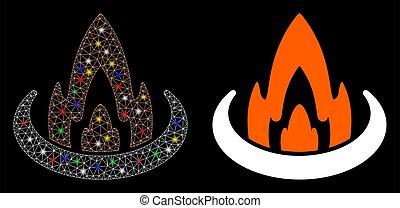 maille, taches, brûler, flamme, icône, emplacement, carcasse