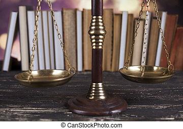maillet, justice, livre, bois, fond, bureau, échelle, droit & loi, juge