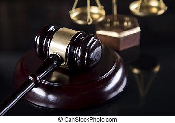 maillet, légal, code, et, statue, de, justice, droit & loi, concept