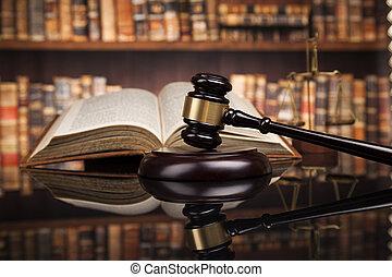 maillet, livres, salle audience, fond, droit & loi, juge