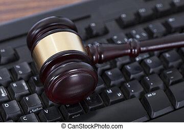 maillet, sur, clavier ordinateur