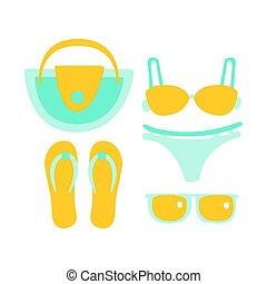 Maillot de bain sandales lunettes soleil - Dessin de maillot de bain ...