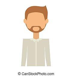 maillot, figure, cadenas, sans, moitié, formel, homme, barbe