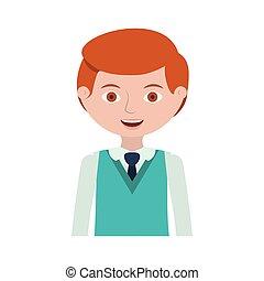 maillot, moitié, roux, cravate, formel, homme