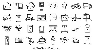 Mailman carrier icons set, outline style