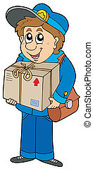 Mailman delivering box - vector illustration.