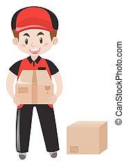 Mailman delivering two packages illustration