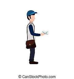 Mailman delivery service icon vector illustration graphic...