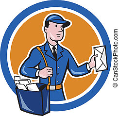 Illustration of a postman mailman delivery worker delivering parcel delivering letter mail set inside circle shape done in cartoon style.