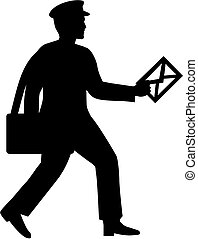 Mailman silhouette with letter