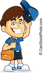 Mailman - Vector clipart picture of a male mailman cartoon...